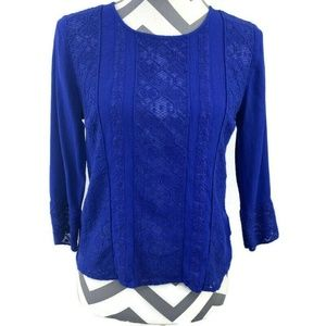 Meadow Rue 3/4 Sleeve Salina Lace Blouse Top